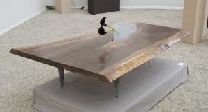 Création mobilier, table basse - bois, bronze et cristal